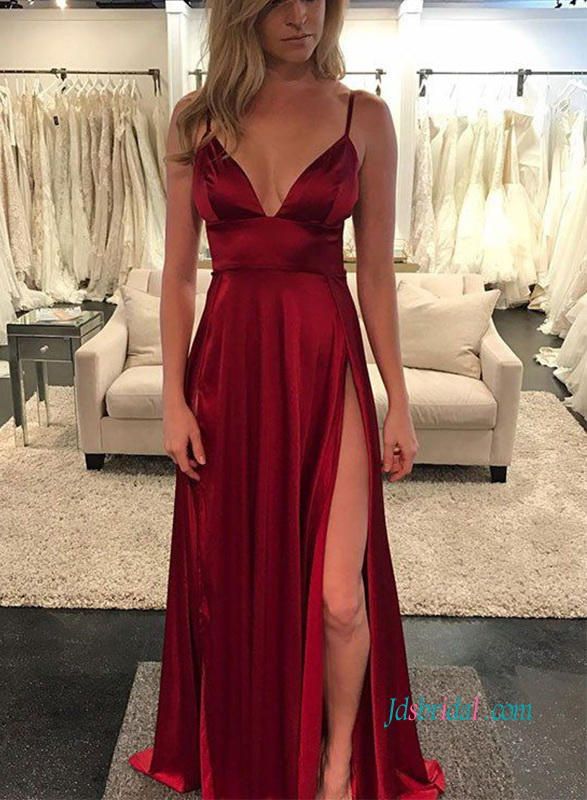 PD18090 Sexy burgundy red plunging long slit prom dress