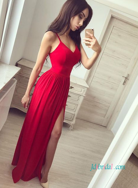 PD18092 Cheap red slit long prom dress evening gowns