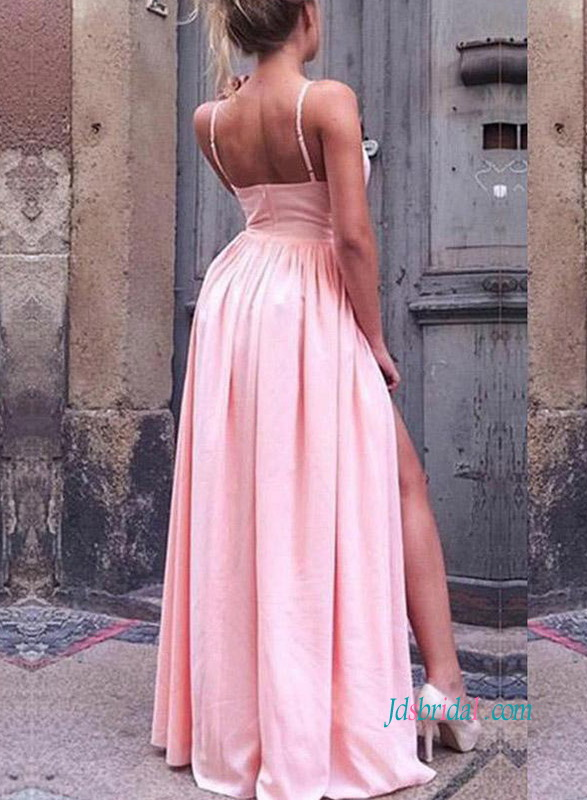 PD18093 Cheap pink color long slits prom dress party dress