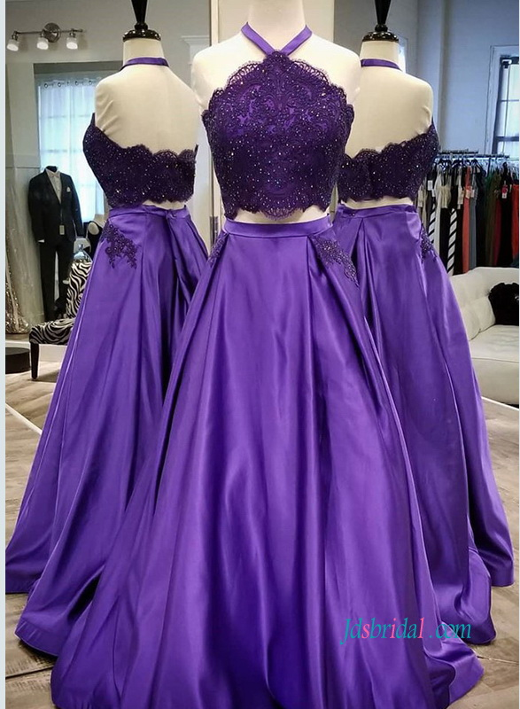 PD18098 Sexy halter neck separates purple prom dress