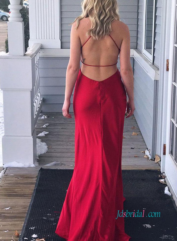 PD18099 Sexy backless red mermaid prom dress evening gown
