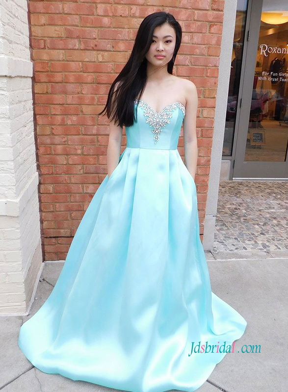 PD18102 Baby blue sweetheart neckline satin prom dress