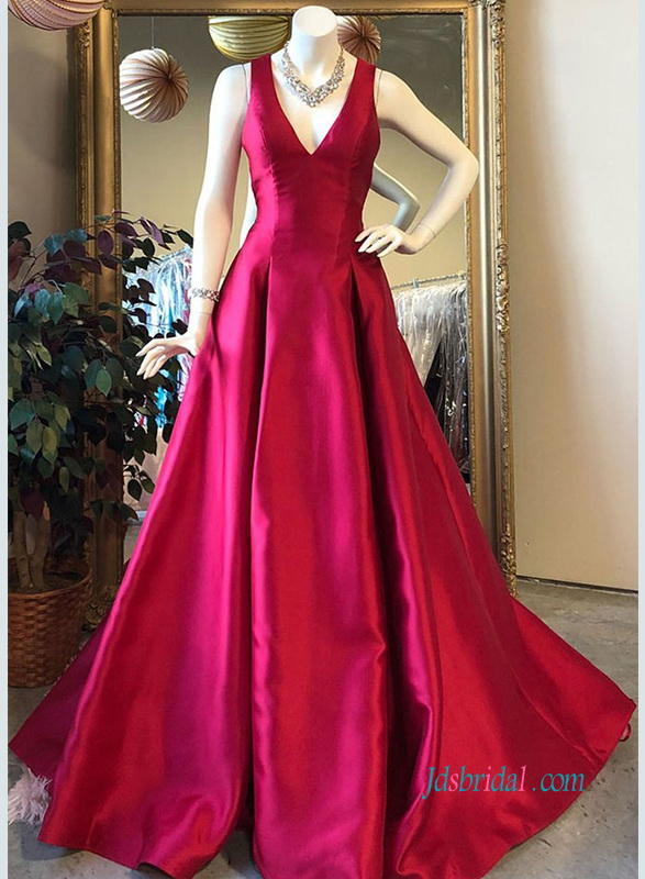 PD18103 Burgundy deep v neck long evening prom dress