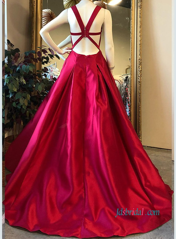 burgundy red v neckline long prom evening dress with banded open back style