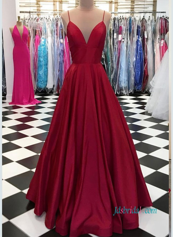 PD18104 Spaghetti straps burgundy long prom dress evening gown