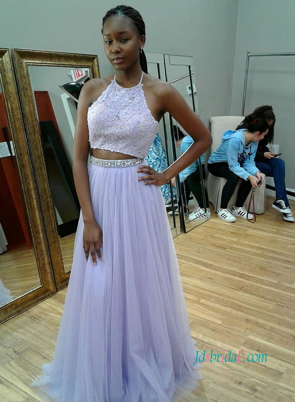 PD18107 Soft lilac purple separates two pieces prom dress
