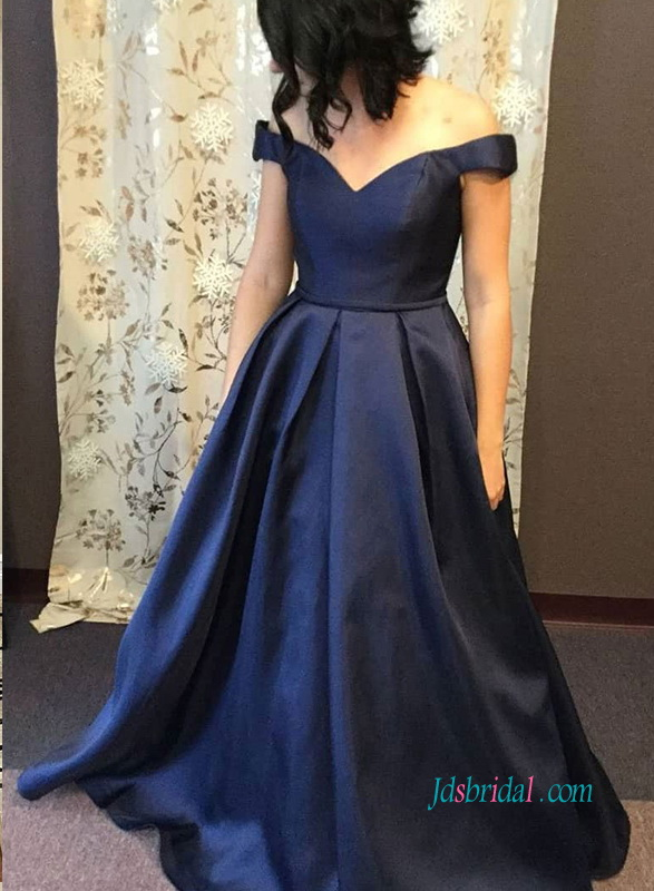 PD18109 Elegant off the shoulder navy blue long prom gown