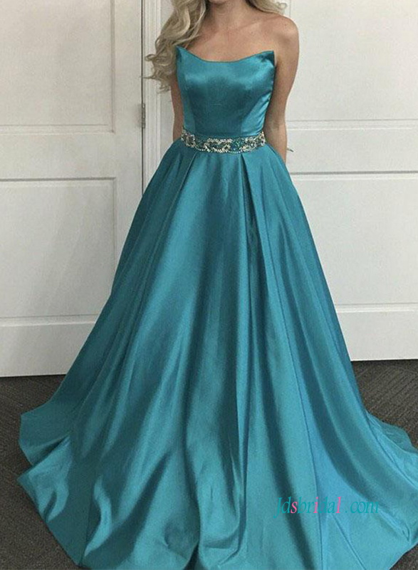 PD18110 New Teal green satin long ball gown prom dress