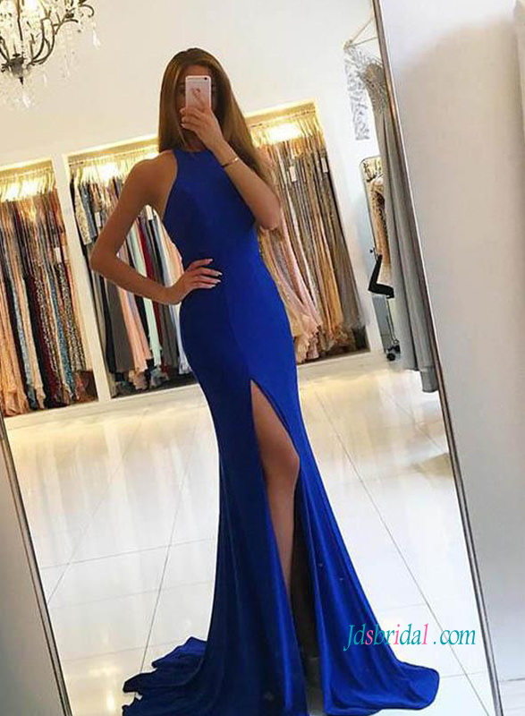 PD18111 Racer neck royal blue slit mermaid prom dress