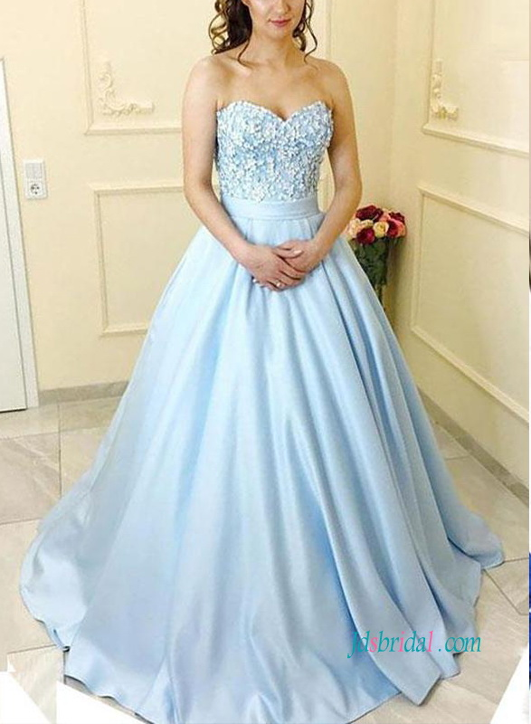 5eec7a302ba PD18112 Formal light baby blue ball gown prom dress