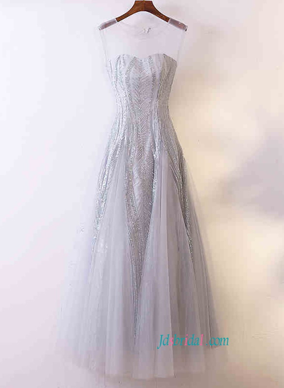 T008 New sparkly blush gray color long evening prom dress