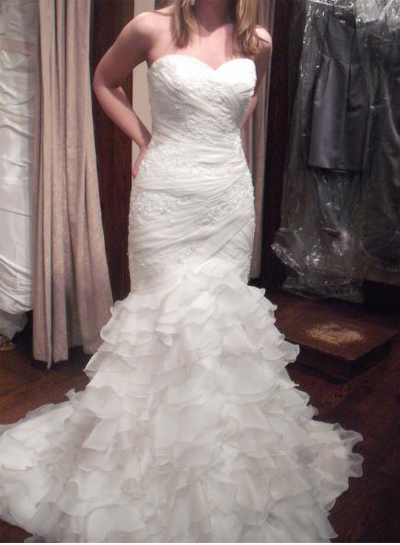 Inspired Strapless Tiered Organza Ruffles Flare Mermaid Wedding Dress