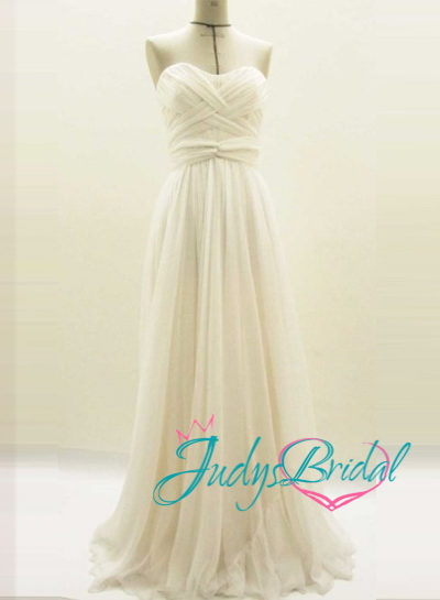 JC11057 flowy simple tulle beach wedding dress with weave details [JC11057]