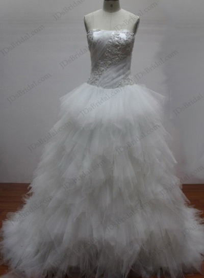 JCD12003 strapless tulle ruffles princess white wedding gowns