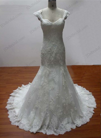 JCD12006 Lace mermaid bridal dresses with short cap sleeves