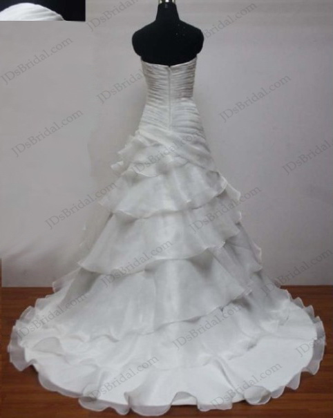 JCD12007 sweetheart neck pleated organza ruffles wedding dress