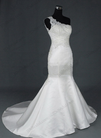 JCD12008 Charming one shoulder sheath mermaid wedding bridal gowns [JCD12008]