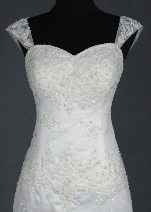 JCD12011 Slim sheath lace wedding dress with cap sleeves