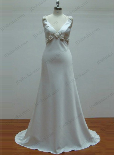 JCD12012 Plain v neck smooth beach wedding dress [JCD12012]