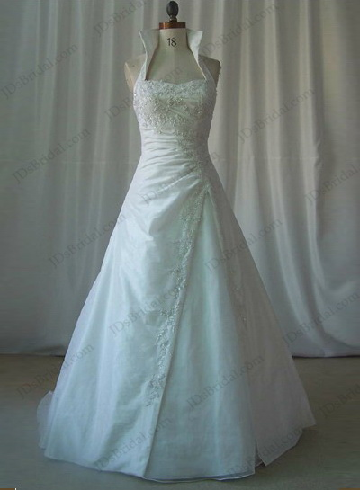 Jcd12015 high necked vintage a line weddingdress gown for High collared wedding dress