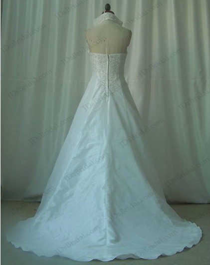 JCD12015 High necked vintage a line weddingdress gown