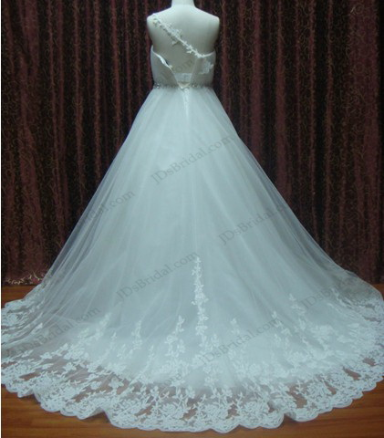 JCD12020 One shoulder spaghetti strap full tulle lace wedding dress