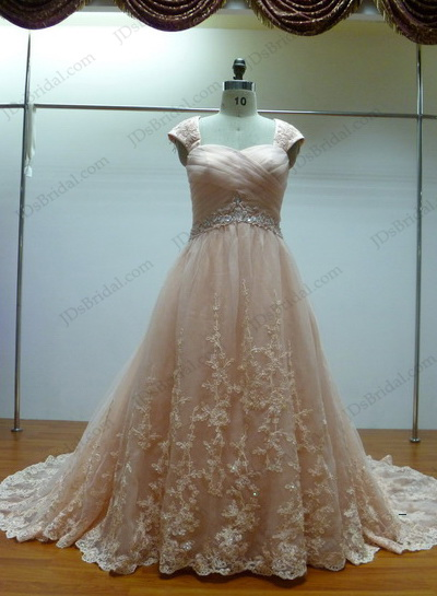 JCD12022 Coral colored plus size lace ballgown wedding dress