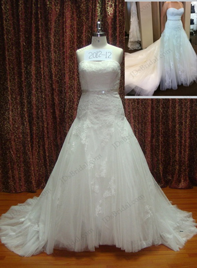 JCD12023 plus size full tulle lace trumpet wedding gowns