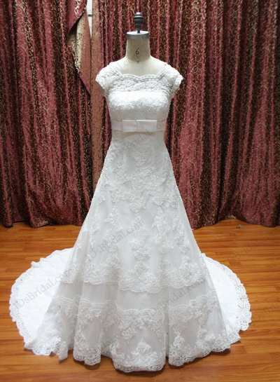JCD12024 Bow white column lace a line wedding dress