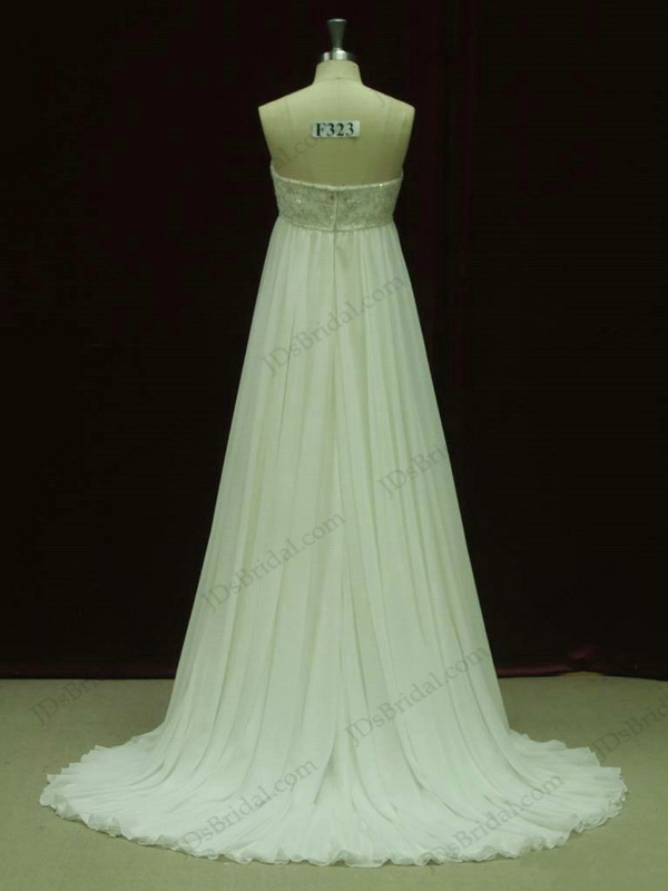 JCD12031 Ivory color bady doll empire maternity flowy chiffon cheap wedding dresses with beaded embroidery