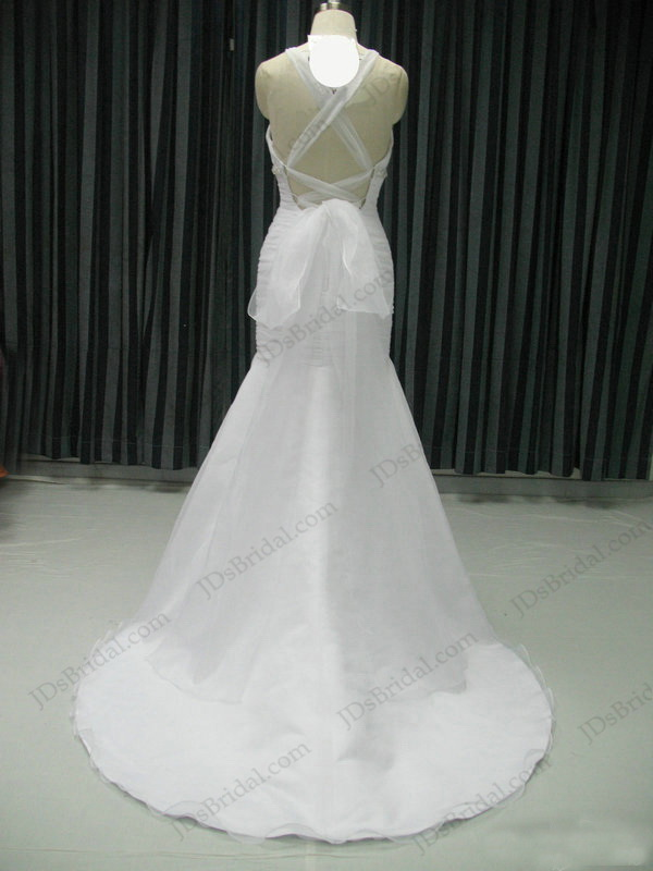 JCD12034 sexy backless tie up fit and flare white mermaid chiffon beach wedding bridalgown dress