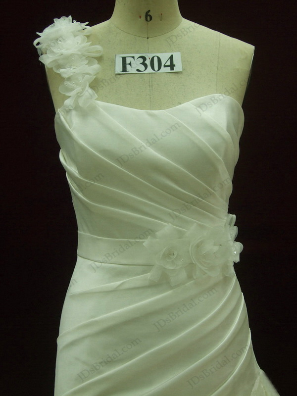 JCD12037 One shoulder strap flare trumpet wedding dress