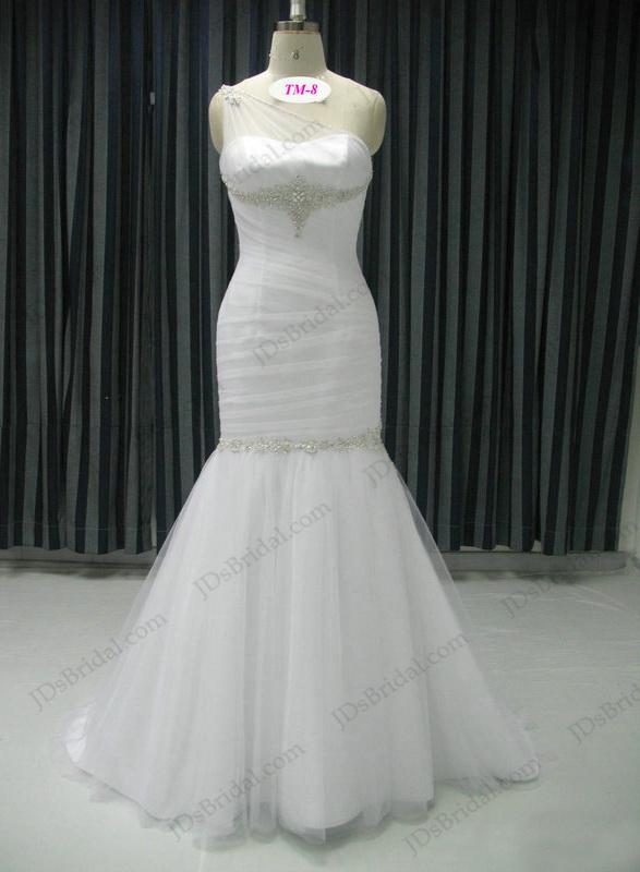 One shoulder wedding dresses,Elegant Godess simple sheath chiffon ...