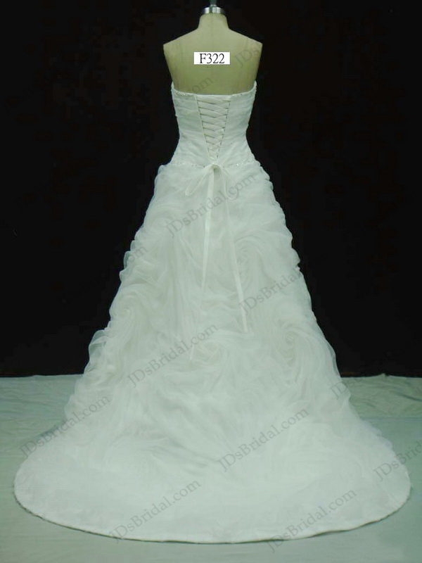 JCD12042 Charming strapless whirl rosette detailed organza wedding ...