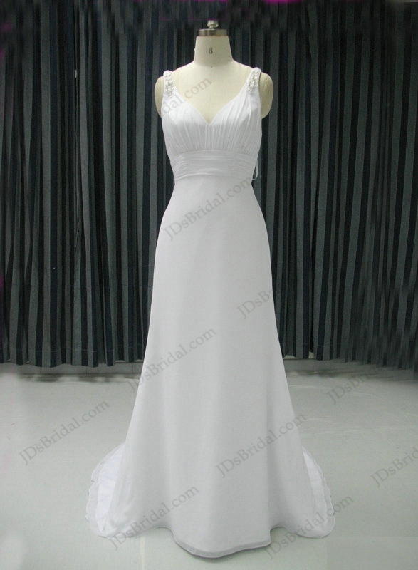 JCD12047 sexy little white fit and flare chiffon beach wedding dress for  petite brides onsale