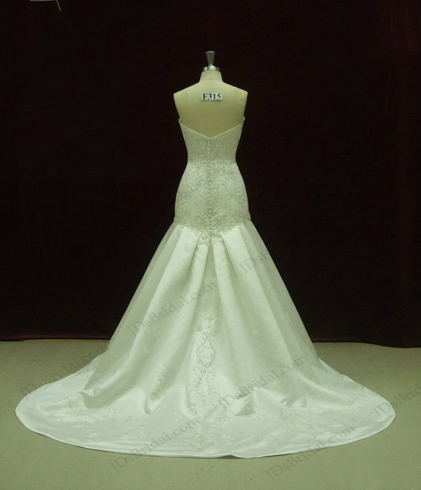 JCD12049 Luxurious Strapless embroidery trumpet Ivory wedding dress