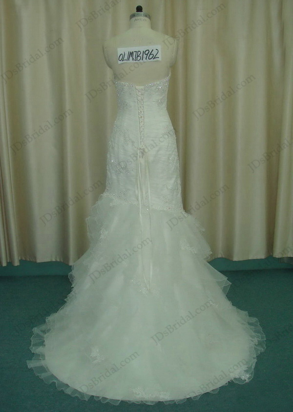 JCD12050 white lace ruffles flare mermaid wedding dress with sweep train