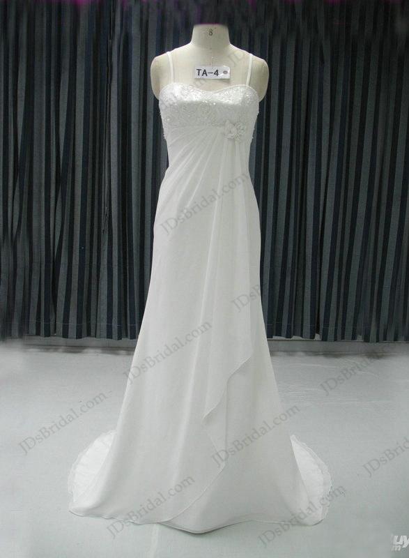 JCD12052 Spaghetti Straps Slim Chiffon Beach Wedding Dress