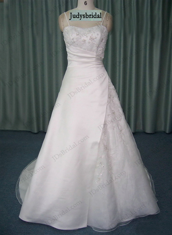 JCD12053 white informal A line wedding dress with spaghetti straps for casual wedding party
