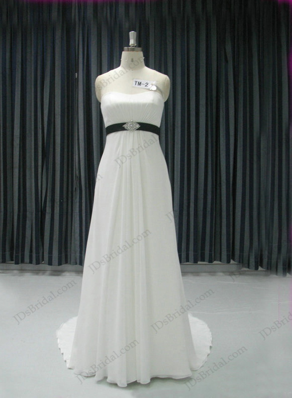 JCD12064 Simple plain flowy chiffon outdoor wedding dress