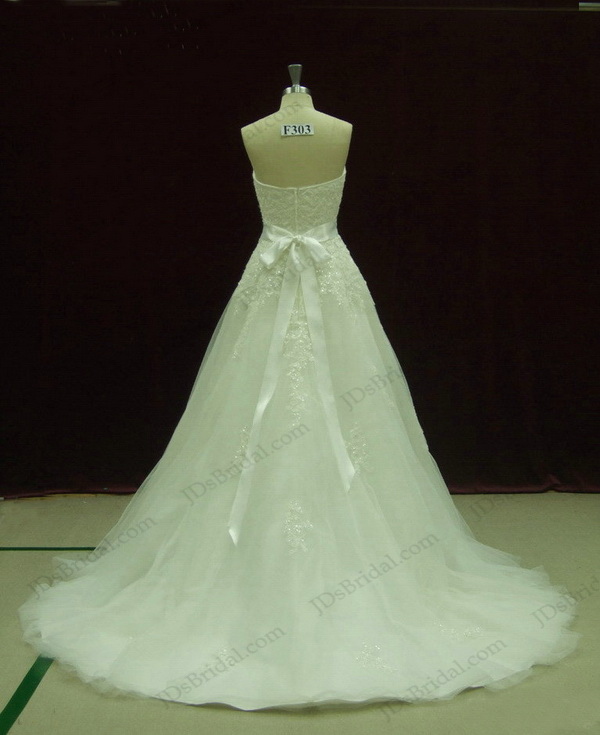 JCD12065 sophisticated lace crystals princess wedding dress
