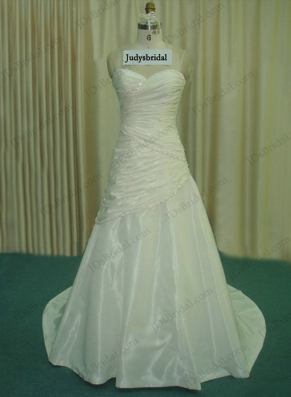 JCD12068 casual sweetheart necked ruched bridal wedding dress
