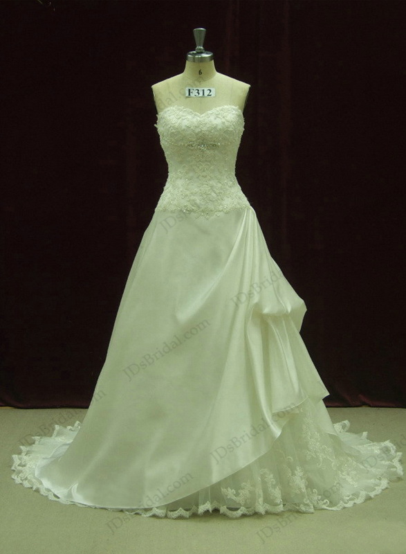 JCD12071 noble lace sweetheart draped Ivory princess ballgown wedding dress
