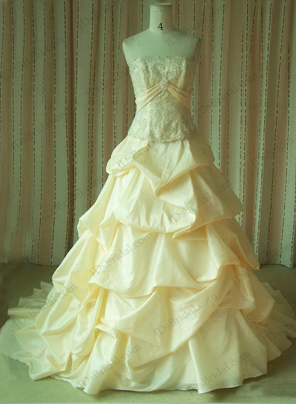 JCD12073 Peach champagne vintage strapless ball gown wedidng dress :