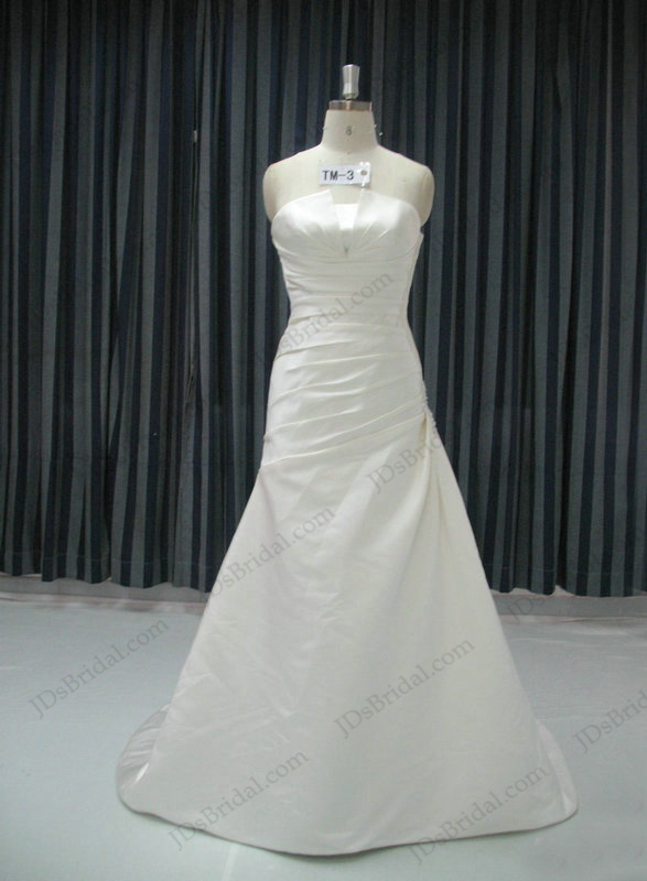 JCD12074 Simple white slim a line wedding bridal gown dress