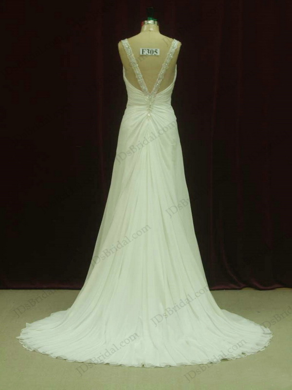 JCD12076 Sexy crystal strapy open back flowy wedding dress