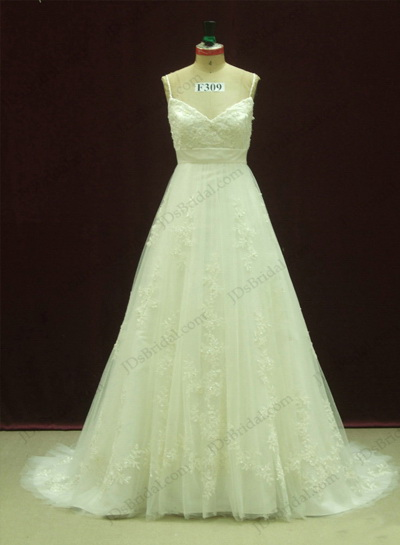 JCD12077 Spaghetti straps princess lace full tulle wedding dress [JCD12077]