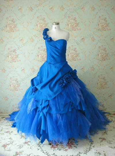 Jcd12081 Blue Colored Vintage One Shoulder Ballgown Wedding Dress