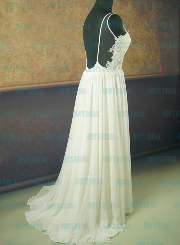 JDP012 sexy open back flowy chiffon lace wedding dress