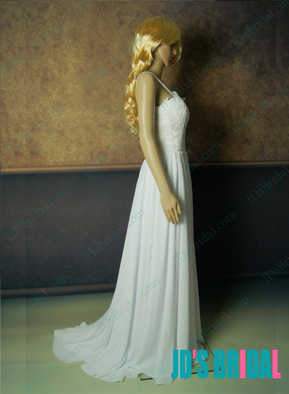 JDP012F sexy backless lace chiffon bride wedding dress